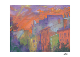 Orange Glow, City Landscape, Pastel Painting, Impressionism