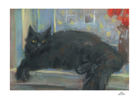 Interrupted Nap, Black Cat, Impressionism Pastel Painting