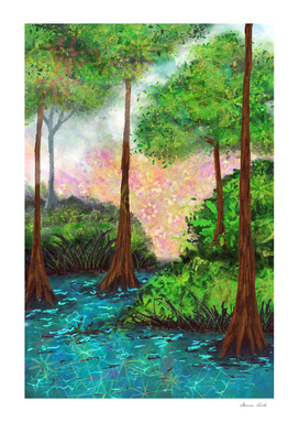 Vibrant Sky Trees Pond Landscape