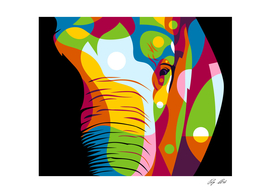 The Colorful Elephant Head Pop Art Style
