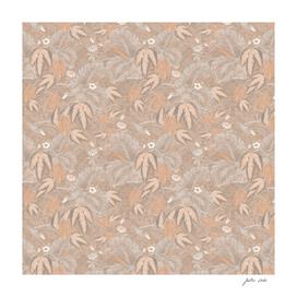 Antique floral birds collage - terracotta