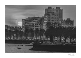 Sunset Coastal Urban Scene, Montevideo, Uruguay