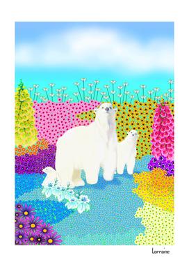 Polar Bears with Flowers