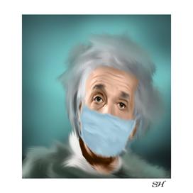 Albert einstein with a mask