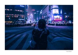 Shibuya crossing at Snowy night