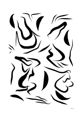 Natural Women Black & White Line-art Pattern