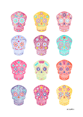 Watercolor Mexican Day of the Dead Sugar Skulls