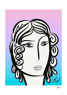 Black and white Pastel-Girl Portrait