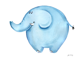 Adorable Watercolor Blue Elephant