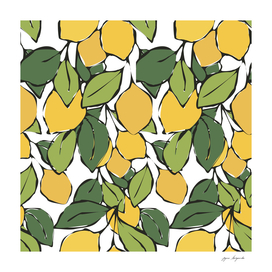 Bright yellow lemons with green leaves. Fresh citrus fruits.