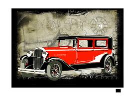 car-vintage-old-red-drawing