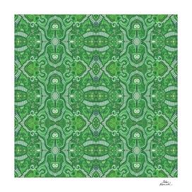 Apple Stripes Bohemian Arabesque Pattern Green White