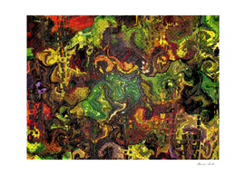 Abstract Urban Jungle Encaustic Style Painting