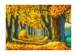 Beautiful sunny autumn forest park landscape oil painting.