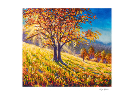 Sunny autumn tree in field hand painted painting by Rybakow.