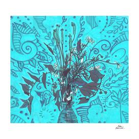 Roadside Wildflowers Bouquet, Turquoise Blue