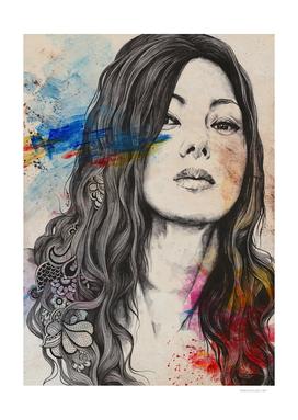 untitled #91020 | zentangle japanese woman portrait