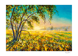 Morning gentle foggy rural landscape painting