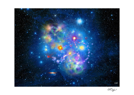Colorful Pleiades Star Cluster