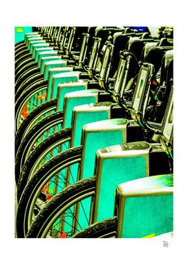 Bikes in aqua