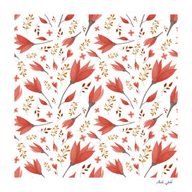 Delicate Autumn Floral Gouache Pattern Collection