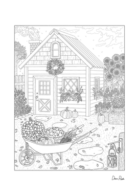 Autumn Cottage Coloring Page