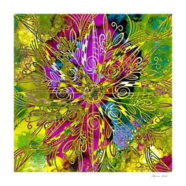 Spring Alcohol Ink Gold Mandala Digital Abstract Painting