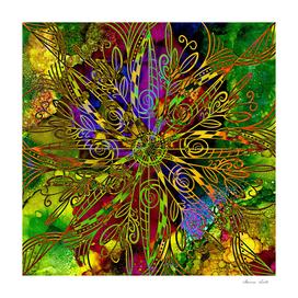 Autumn Alcohol Ink Mandala Digital Abstract Painting