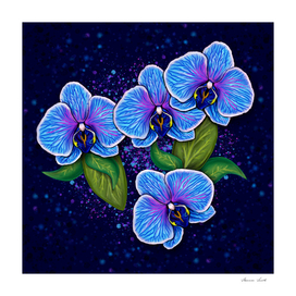 Digital Painting Whimsical Blue Orchid Flowers