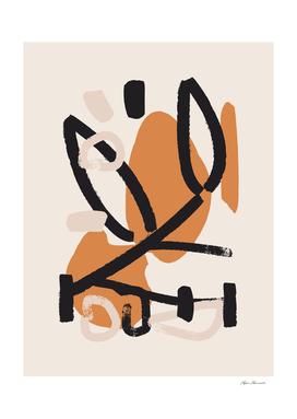 Abstract Boho Midcentury Modern Nude Prints Wall Art | 01