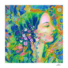 Summer Girl, Imaginary Portrait, Rainbow Multicolored
