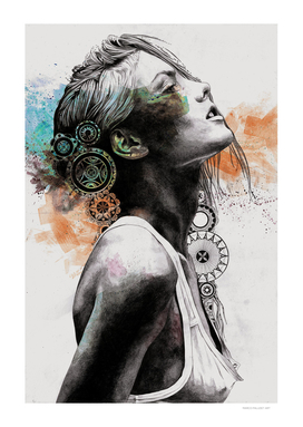 Burnt By The Sun: custom | street art mandala woman portrait