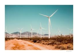 Wind turbine farm in the desert at Kern County California