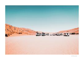 Parking lot in the desert at Antelope Canyon Arizona USA