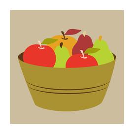 bountiful harvest (apple, pear, pumpkin, leaf)