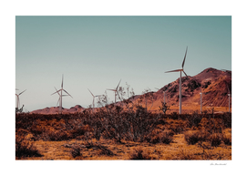 Wind turbine and desert view at Kern County California USA