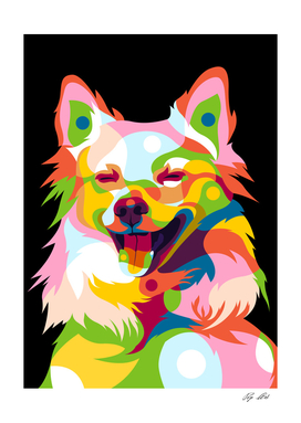 Cute Little Dog in Colorful Pop Art Portrait