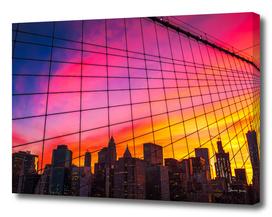 New York City Sunset Skyline skies from the Brooklyn Bridge