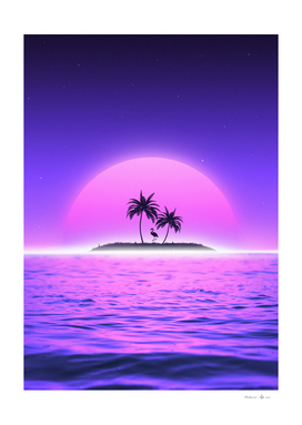 Beach flamingo Sunset