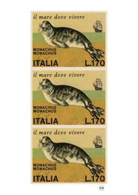 Mediterranean monk seal italian stamps collage