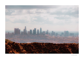City view with cloudy sky from Los Angeles California USA