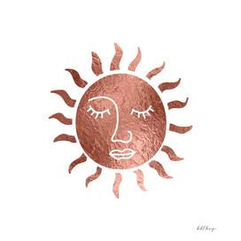 Sun Meditation Spiritual Celestial Symbol rose gold