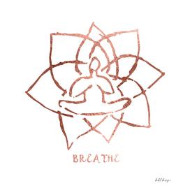 breathe meditation symbol minimal rose gold