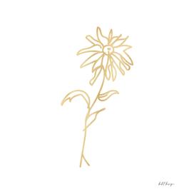 line art flower gold daisy