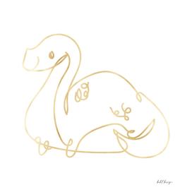 line art dinosaur gold
