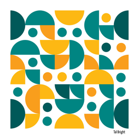 Funky Retro Pattern orange teal