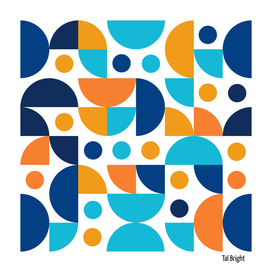 Funky Retro Pattern oranges and blues