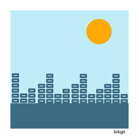 Minimal Sunset with Soundwaves (Sky Blue Background)