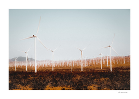 Wind turbine in the desert at Kern County California USA