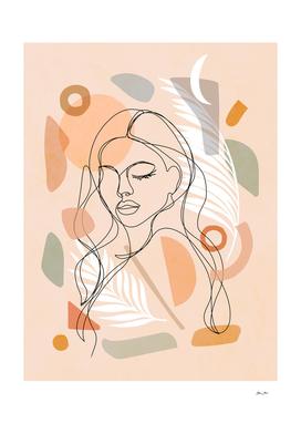 Self Love Line-art portrait 1. Earthy